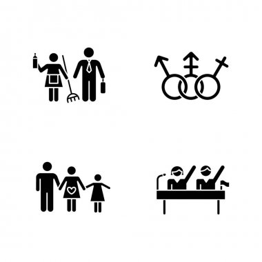 Gender equality glyph icons set. Politic rights. Transgender people, LGBTQ community. Female, male, trans sign. Gender stereotypes. Family planning. Silhouette symbols. Vector isolated illustration icon