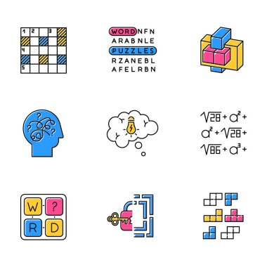 Puzzles and riddles color icons set. Construction, word puzzle. Crossword. Math problem. Puzzled mind. Logic games. Mental exercise. Brain teaser. Solution finding. Isolated vector illustrations icon