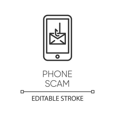 Phone scam linear icon. Communications fraud. One-ring trick. Sm