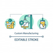 Custom manufacturing concept icon. Local production idea thin li