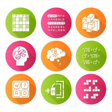 Puzzles and riddles flat design long shadow glyph icons set. Construction, word puzzle. Crossword. Math problem. Puzzled mind. Logic game. Mental exercise. Brain teaser. Vector silhouette illustration icon