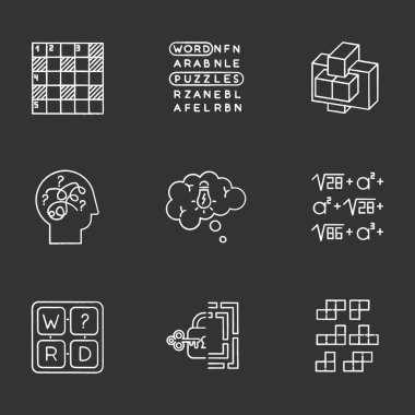 Puzzles and riddles chalk icons set. Construction puzzle. Crossword. Math problem. Puzzled mind. Logic games. Mental exercise. Brain teaser. Solution finding. Isolated vector chalkboard illustrations icon