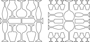Wineglasses linear icons set. Restaurant service. Alcohol bar. Port and madeira glasses. Alcoholic beverages glassware. Thin line contour symbol. Isolated vector outline illustrations. Editable stroke icon