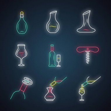 Wine service neon icons vector illustration
