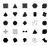 Geometric figures glyph icons set. Squares, circles and triangles. Double pyramid. Prism models. Complex abstract shapes. Isometric forms with curves. Silhouette symbols. Vector isolated illustration