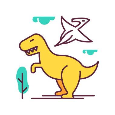 Dinosaurs color icon. Prehistoric animals. Tyrannosaurus rex. Flying pterodactyl. Jurassic park. Dangerous beasts. Ancient wildlife. Archeology and history. Isolated vector illustration