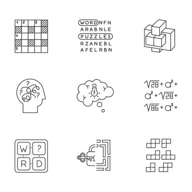 Puzzles and riddles linear icons set. Construction, word puzzle. Crossword. Math problem. Puzzled mind. Brain teaser. Thin line contour symbols. Isolated vector outline illustrations. Editable stroke icon