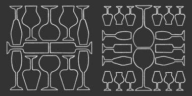 Wineglasses chalk icons set. Restaurant service. Alcohol bar. Port and madeira glasses. Alcoholic beverages glassware. Isolated vector chalkboard illustrations icon