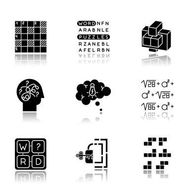 Puzzles and riddles drop shadow black glyph icons set. Construction, word puzzle. Crossword. Math problem. Puzzled mind. Logic games. Mental exercise. Brain teaser. Isolated vector illustrations icon