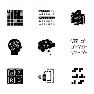 Puzzles and riddles glyph icons set. Construction, word puzzle. Crossword. Math problem. Puzzled mind. Logic games. Mental exercise. Brain teaser. Silhouette symbols. Vector isolated illustration icon