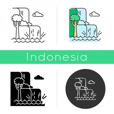 Waterfall landscape icon. Vacation to Indonesia. Hidden treasure