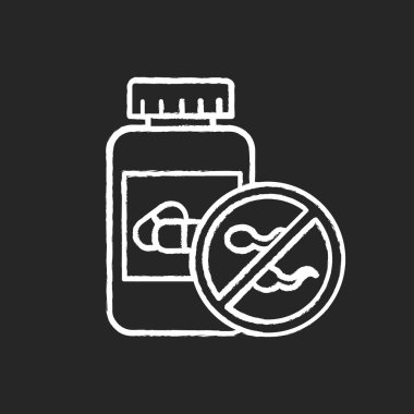 Birth control chalk icon. Female oral contraceptive. Unwanted pr