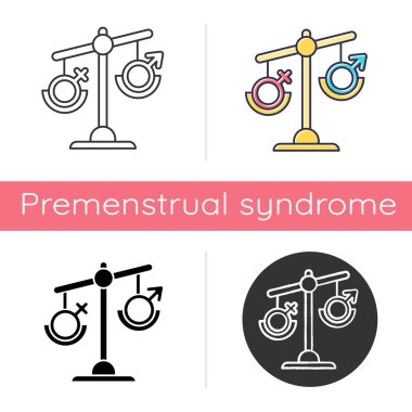 Hormone imbalance icon. Female and male gender sign on scale. Disbalance in testosterone and estrogen. Sexism and inequality. Flat design, linear and color styles. Isolated vector illustrations icon