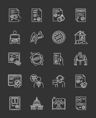 Notary services chalk white icons set on black background. Apostille and legalization. Notarized documents. Stamps. Legal paper. Notarization. Certificate. Isolated vector chalkboard illustrations icon