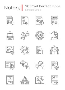 Notary services pixel perfect linear icons set. Apostille and legalization. Legal documents. Stamps. Customizable thin line contour symbols. Isolated vector outline illustrations. Editable stroke icon