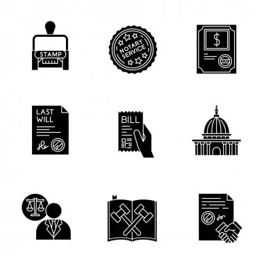 Notary services black glyph icons set on white space. Apostille and legalization. Stock certificate. Supreme court. Legal code. Will. Lawyer. Contract. Silhouette symbols. Vector isolated illustration icon