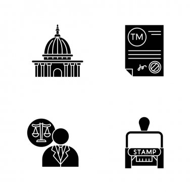Notary services black glyph icons set on white space. Apostille and legalization. Trademark certificate. Supreme court. Lawyer, attorney. Stamp. Silhouette symbols. Vector isolated illustration icon
