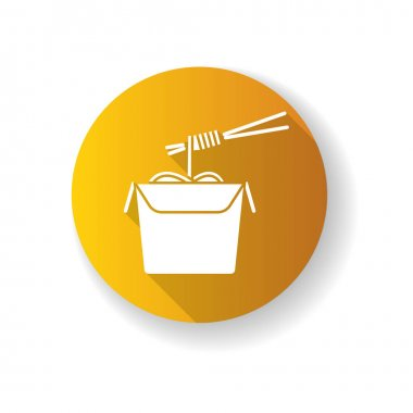 Chinese noodles yellow flat design long shadow glyph icon. Wok cafe food cardboard box with chopsticks. Japanese spaghetti takeout. Take away meal paper package. Silhouette RGB color illustration icon
