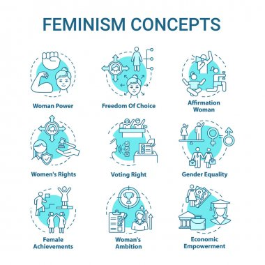 Feminism turquoise concept icons set. Sex discrimination. Gender equality. Feminist movement. Womens rights idea thin line RGB color illustrations. Vector isolated outline drawing. Editable stroke icon