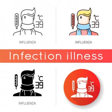 Influenza icon. Linear black and RGB color styles. Contagious flu virus, respiratory viral infection. Medical diagnosis. Ill person with cold symptoms, fever, headache isolated vector illustrations icon