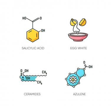 Cosmetic ingredient RGB color icons set. Salicylic acid. Egg white. Ceramides formula. Azulene molecular structure. Beauty compound. Skincare. Korean beauty. Isolated vector illustrations icon