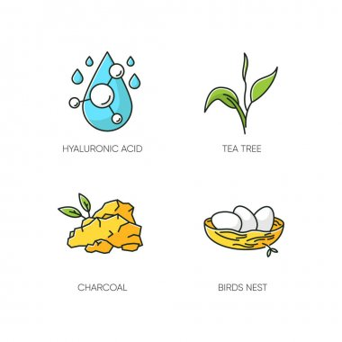 Cosmetic ingredient RGB color icons set. Hyaluronic acid. Tea tree. Charcoal. Birds nest. Skincare treatment. Organic component for exfoliation. Korean beauty. Isolated vector illustrations icon