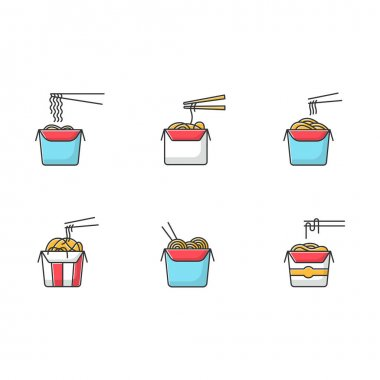 Take away noodles RGB color icons set. Chinese food to go. Wok cafe packages. Cardboard boxes with takeout asian meal and chopsticks. Isolated vector illustrations icon