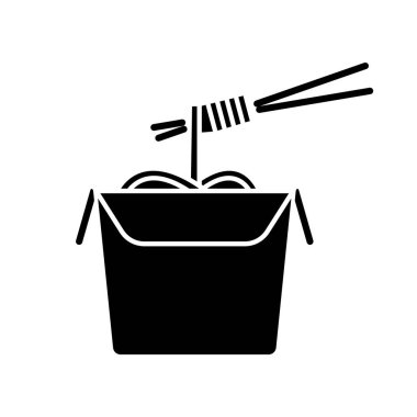 Chinese noodles black glyph icon. Wok cafe food cardboard box with chopsticks. Japanese spaghetti takeout. Take away meal paper package. Silhouette symbol on white space. Vector isolated illustration icon
