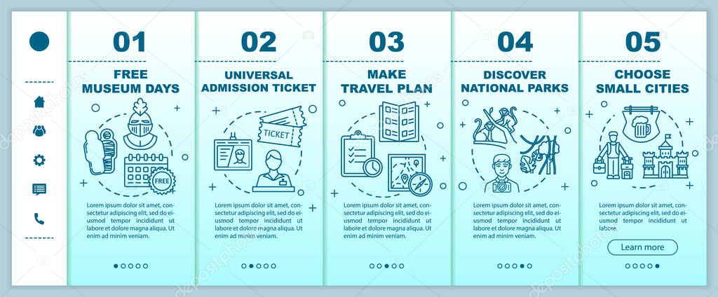 Budget Tourism Guide Onboarding Vector Template Free Museum Days Travel Plan National Parks Small Towns Responsive Mobile Website With Icons Webpage Walkthrough Step Screens Rgb Color Concept Premium Vector In Adobe