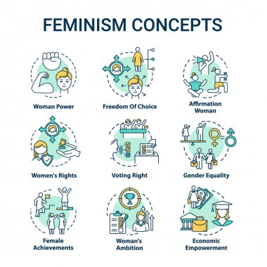 Feminism concept icons set. Sex discrimination. Gender equality. Woman power. Feminist movement. Womens rights idea thin line RGB color illustrations. Vector isolated outline drawing. Editable stroke icon