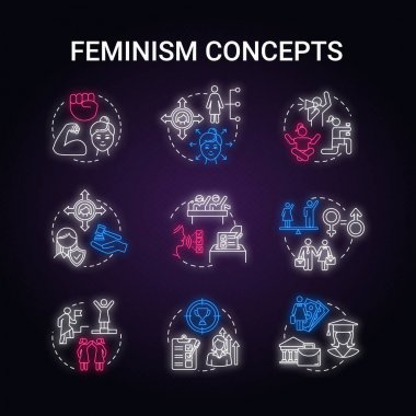 Feminism neon light concept icons set. Sex discrimination. Gender equality. Woman power. Feminist movement. Womens rights idea. Glowing vector isolated RGB color illustration icon