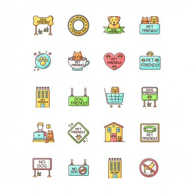 Dog friendly and no pet signs RGB color icons set. Cats and dogs allowed and banned areas, free and closed entry. Domestic animals welcome and not allowed zones. Isolated vector illustrations icon