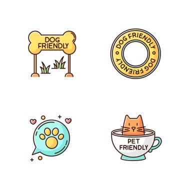 Cat and dog friendly areas emblems RGB color icons set. Four-legged friends allowed territories signs. Kitty and doggy welcome, animals permitted zones. Isolated vector illustrations icon