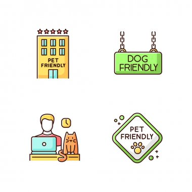 Pet friendly companies RGB color icons set. Four-legged friends allowed hotels and offices. Domestic animals welcome areas, cats and dogs permitted motels and workplaces. Isolated vector illustrations icon