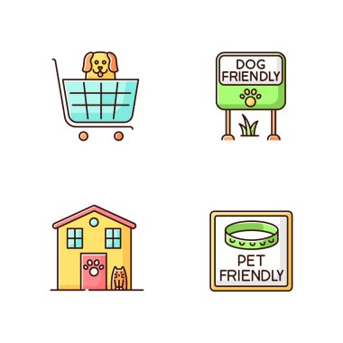 Pet friendly areas RGB color icons set. Four-legged friends welcome shops and houses. Animal shelter, domestic animals allowed parks and supermarkets. Isolated vector illustrations icon