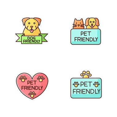 Pet friendly service blue, pink and yellow RGB color icons set. Four-legged friends grooming salon. Domestic animals care, cats and dogs allowed areas. Isolated vector illustrations icon
