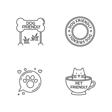 Cat and dog friendly areas emblems pixel perfect linear icons set. Kitty and doggy welcome. Customizable thin line contour symbols. Isolated vector outline illustrations. Editable stroke icon