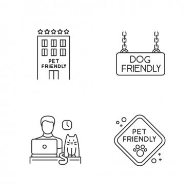 Pet friendly companies pixel perfect linear icons set. Four-legged friends allowed hotels and offices. Customizable thin line contour symbols. Isolated vector outline illustrations. Editable stroke icon