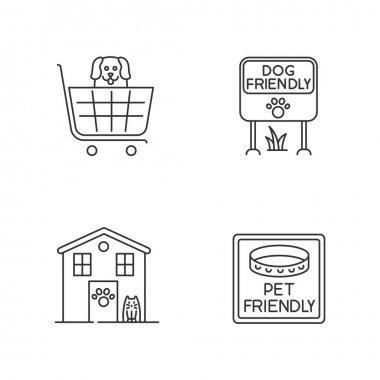 Pet friendly areas pixel perfect linear icons set. Four-legged friends welcome shops and houses. Customizable thin line contour symbols. Isolated vector outline illustrations. Editable stroke icon