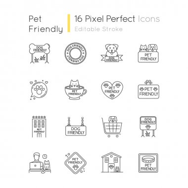 Dog friendly and no pet signs pixel perfect linear icons set. Cats and dogs allowed and banned areas. Customizable thin line contour symbols. Isolated vector outline illustrations. Editable stroke icon