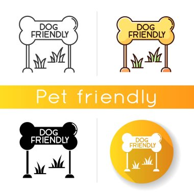 Dog friendly zone icon. Puppy allowed park and square mark. Domestic animals permitted territories, lawn and garden. Linear black and RGB color styles. Isolated vector illustrations icon