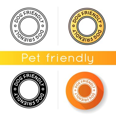 Dog friendly area icon. Doggy permitted, domestic animals care territory. Puppies welcome terrain, pets allowed zone. Linear black and RGB color styles. Isolated vector illustrations icon
