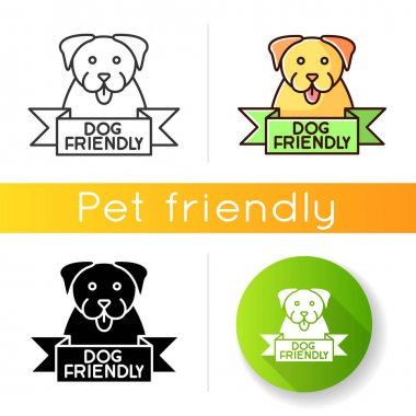 Dog friendly area icon. Puppy permitted zone mark. Domestic animals allowed territory, grooming, pets welcome institution sign. Linear black and RGB color styles. Isolated vector illustrations icon