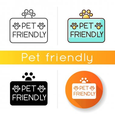 Pet friendly territory icon. Grooming salon, domestic animals care service. Cats and dogs permitted area, welcome zone. Linear black and RGB color styles. Isolated vector illustrations icon