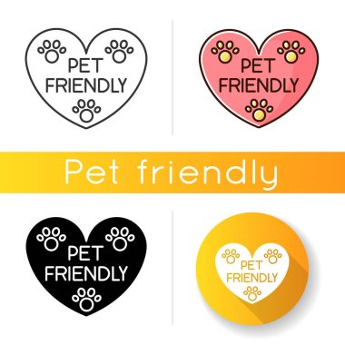 Pet friendly area sign icon. Grooming salon heart shaped logo, animals welcome zone. Cats and dogs permitted territory. Linear black and RGB color styles. Isolated vector illustrations icon