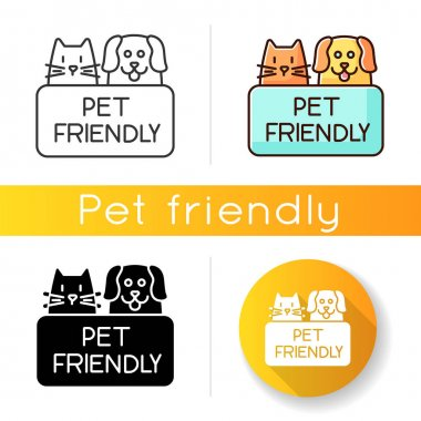 Cat and dog friendly area icon. Puppy and kitten permitted zone. Domestic animals allowed territory, pets welcome institution. Linear black and RGB color styles. Isolated vector illustrations icon