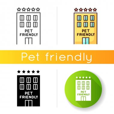 Pet friendly motel exterior icon. Domestic animals welcome five-star hotel. Cats and dogs permitted hostel, welcome zone. Linear black and RGB color styles. Isolated vector illustrations icon