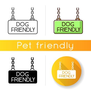 Dog friendly territory icon. Doggy permitted zone, puppies welcome terrain. Domestic animals allowed area chain hanging plate. Linear black and RGB color styles. Isolated vector illustrations icon