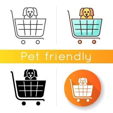Dogs allowed supermarket, petshop icon. Doggy permitted shop, domestic animals welcome store. Happy puppy in shopping cart. Linear black and RGB color styles. Isolated vector illustrations icon
