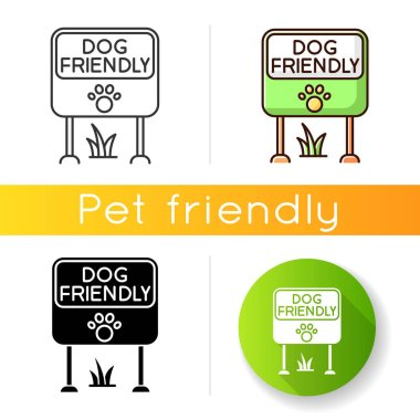 Dog friendly place icon. Doggy allowed park and square mark. Domestic puppies permitted territory, lawn and garden sign. Linear black and RGB color styles. Isolated vector illustrations icon